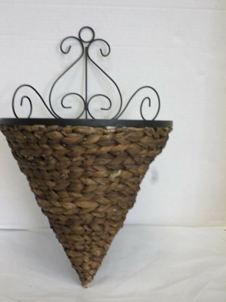Hanging Flower Baskets Cone Shaped : Woven wicker rattan outdoor yard patio wall hanging cone