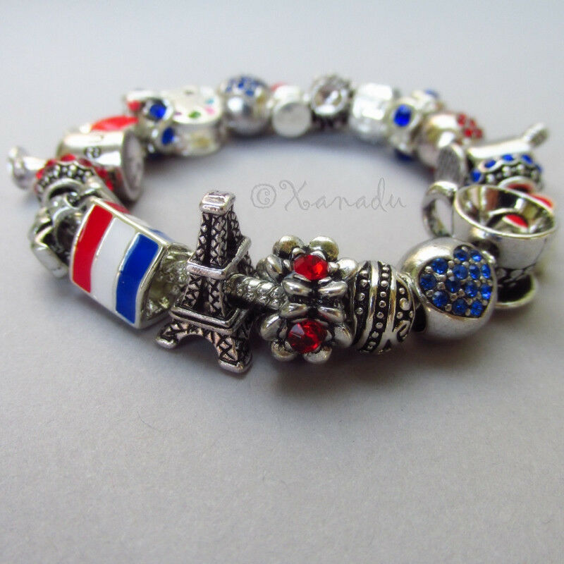 Francophile European Charm Bracelet With Flag Of France
