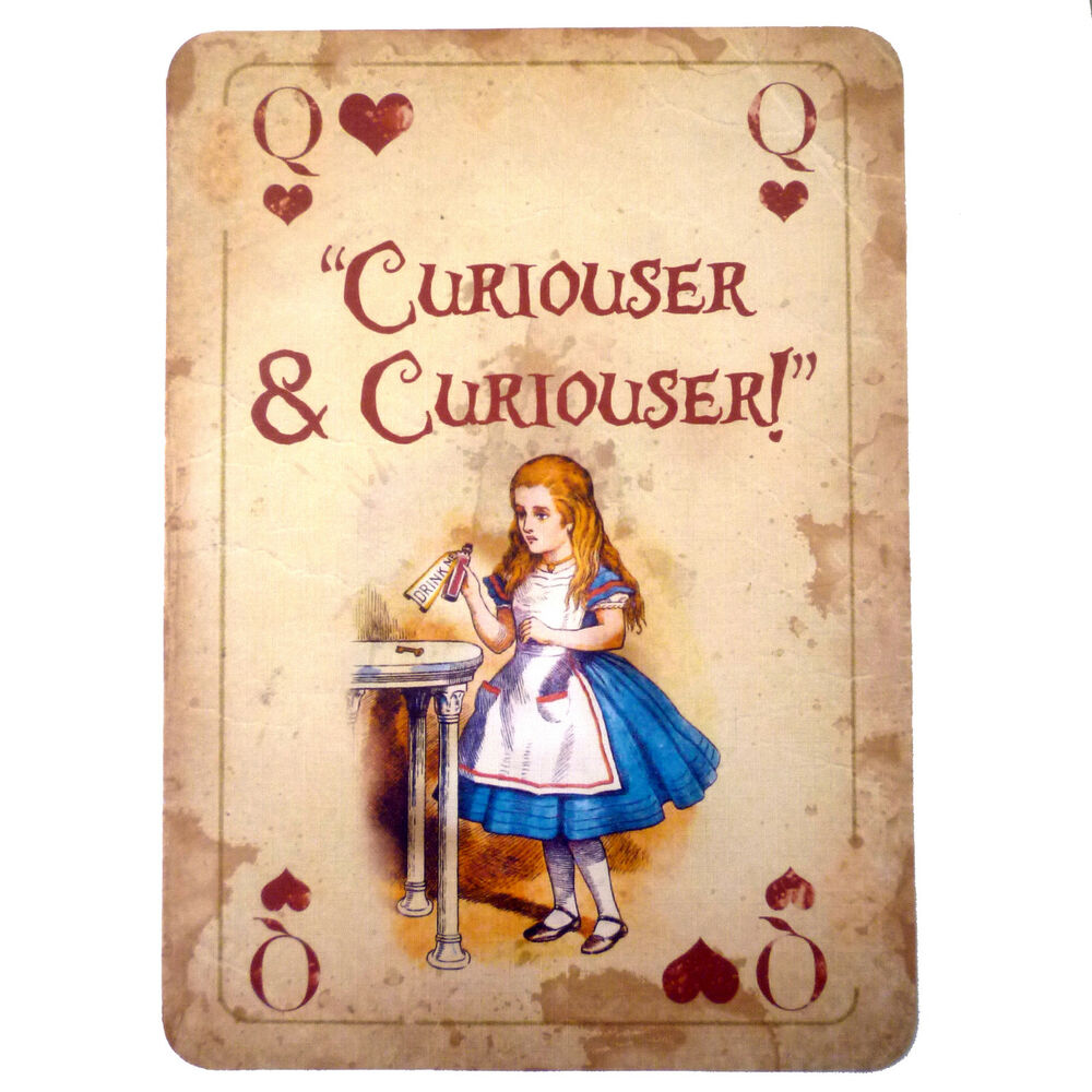 Alice In Wonderland A4 QUOTE Vintage Playing Card Prop Mad