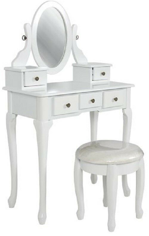 Vanity dressing table set mirror antique vintage wood drawer bench makeup stool ebay - Stool for vanity table ...