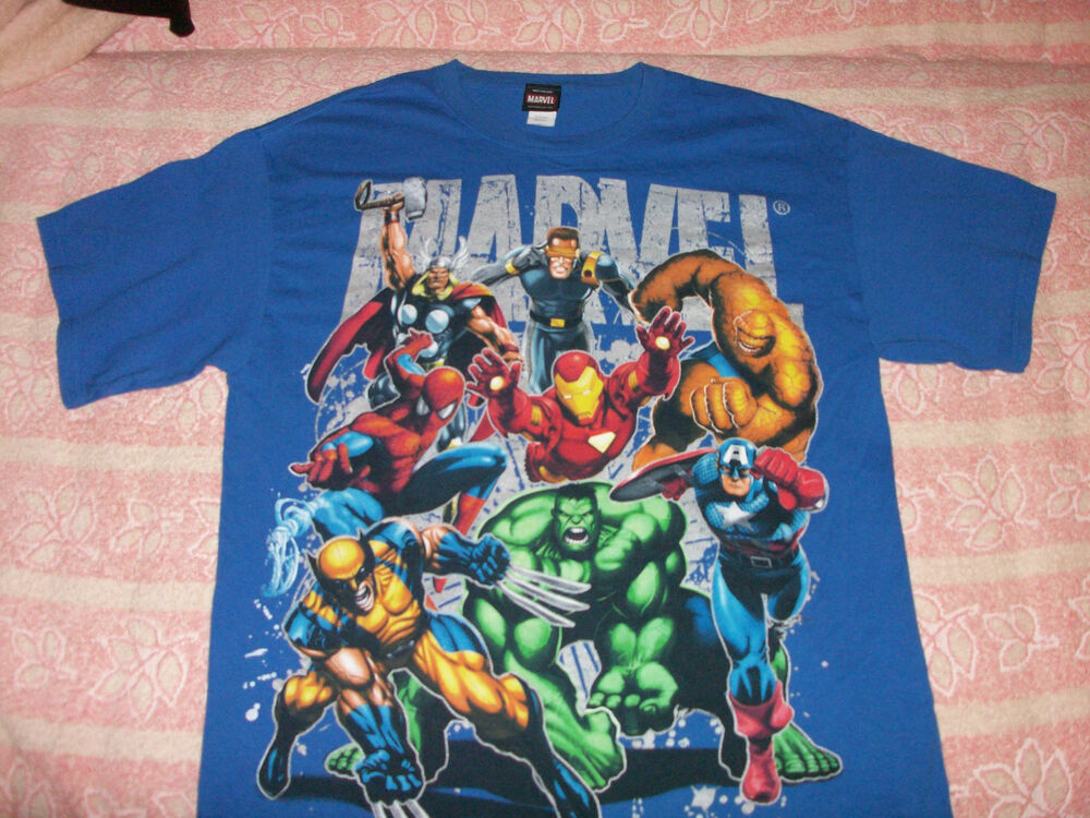 marvel super hero t shirt large size ebay. Black Bedroom Furniture Sets. Home Design Ideas