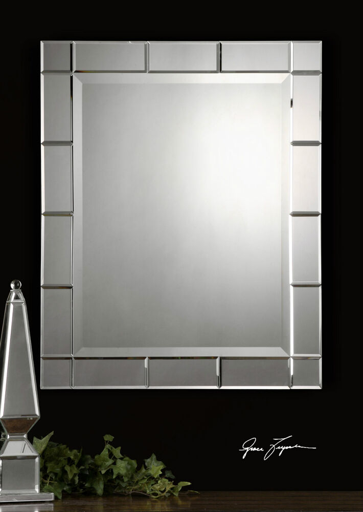 New 33 Contemporary Frameless Rectangular Beveled Wall Mirror Office Bathroom Ebay