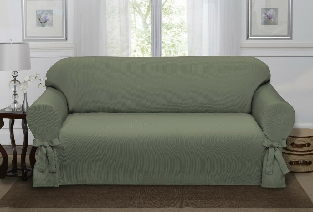 SAGE GREEN LODEN LUCERNE SOFA SLIPCOVER, COUCH COVER, SOFA