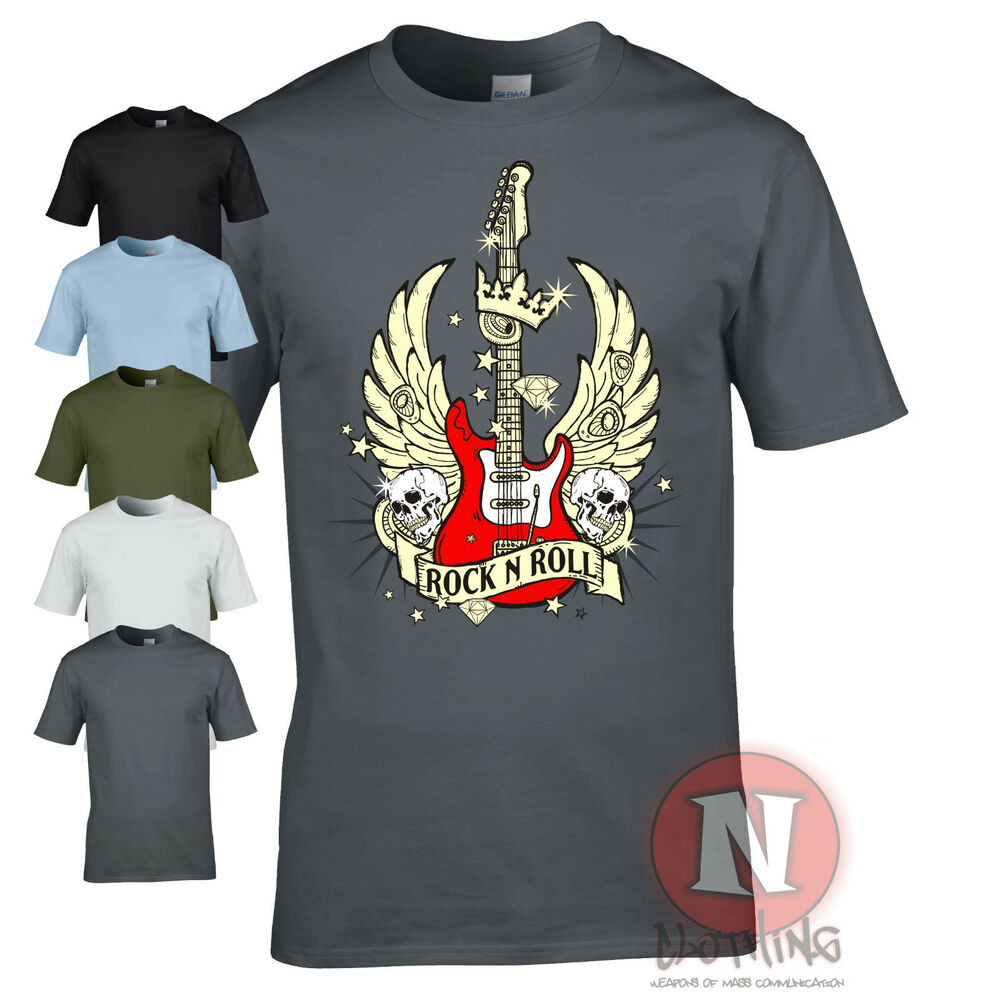 Guitar wings t shirt rock n roll band music hero tour for Rock and roll shirt shop