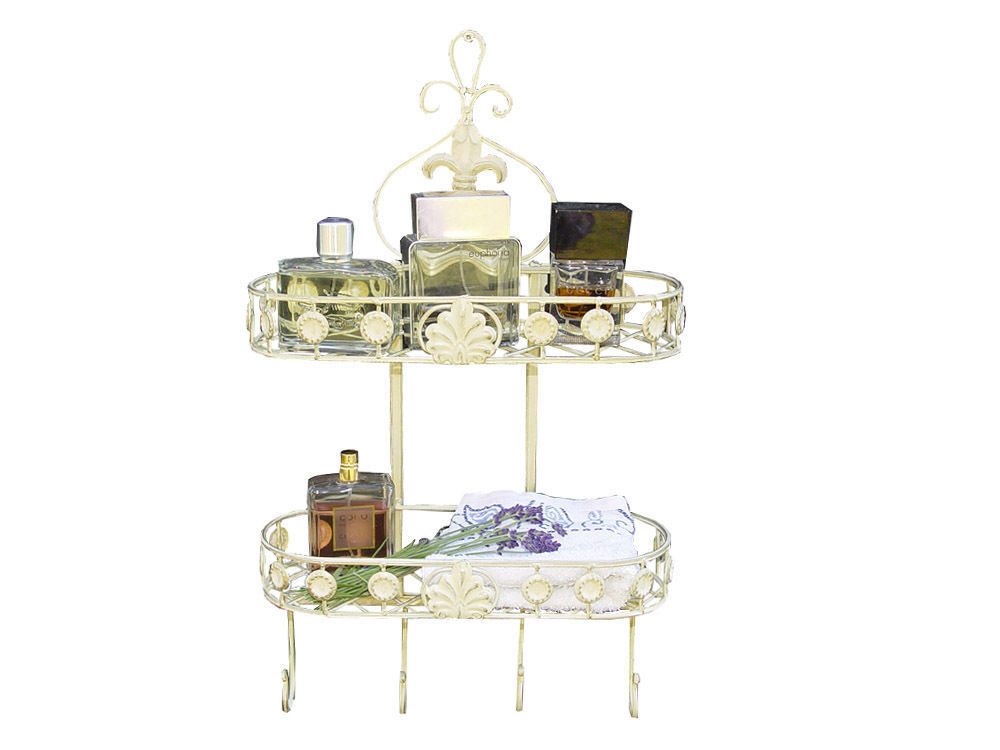 shabby chic wandkorb hacken badregal h ngeregal k chenregal antik metal weiss ebay. Black Bedroom Furniture Sets. Home Design Ideas
