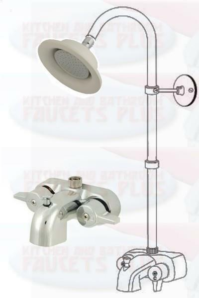 Chrome Add A Shower Clawfoot Tub Diverter Faucet Kit W Porcelain Chrome
