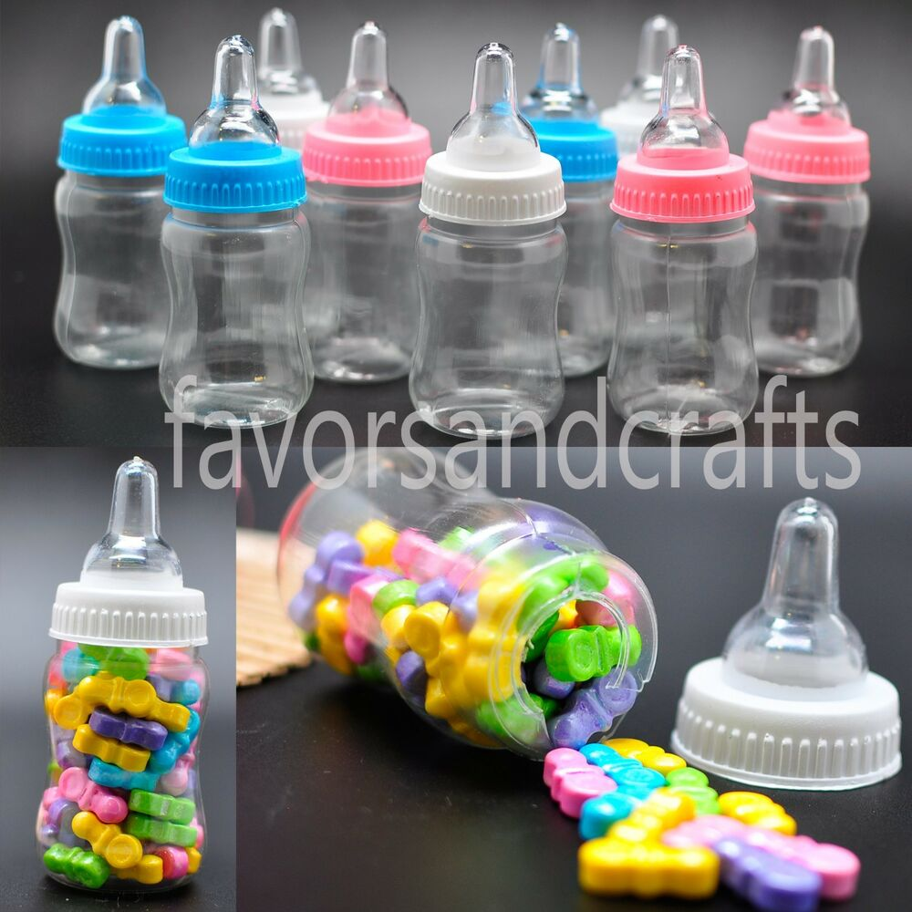 24 fillable bottles for baby shower favors blue pink party for Baby shower decoration kits boy