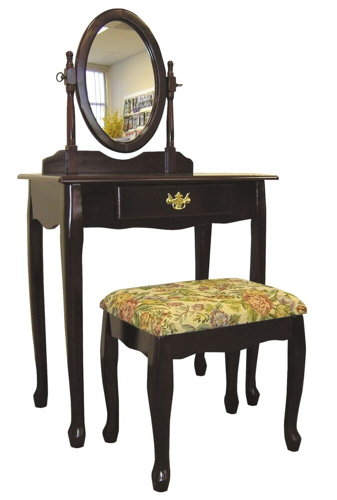 Vanity antique mirror dresser vintage table set deco wood for Vanity table set