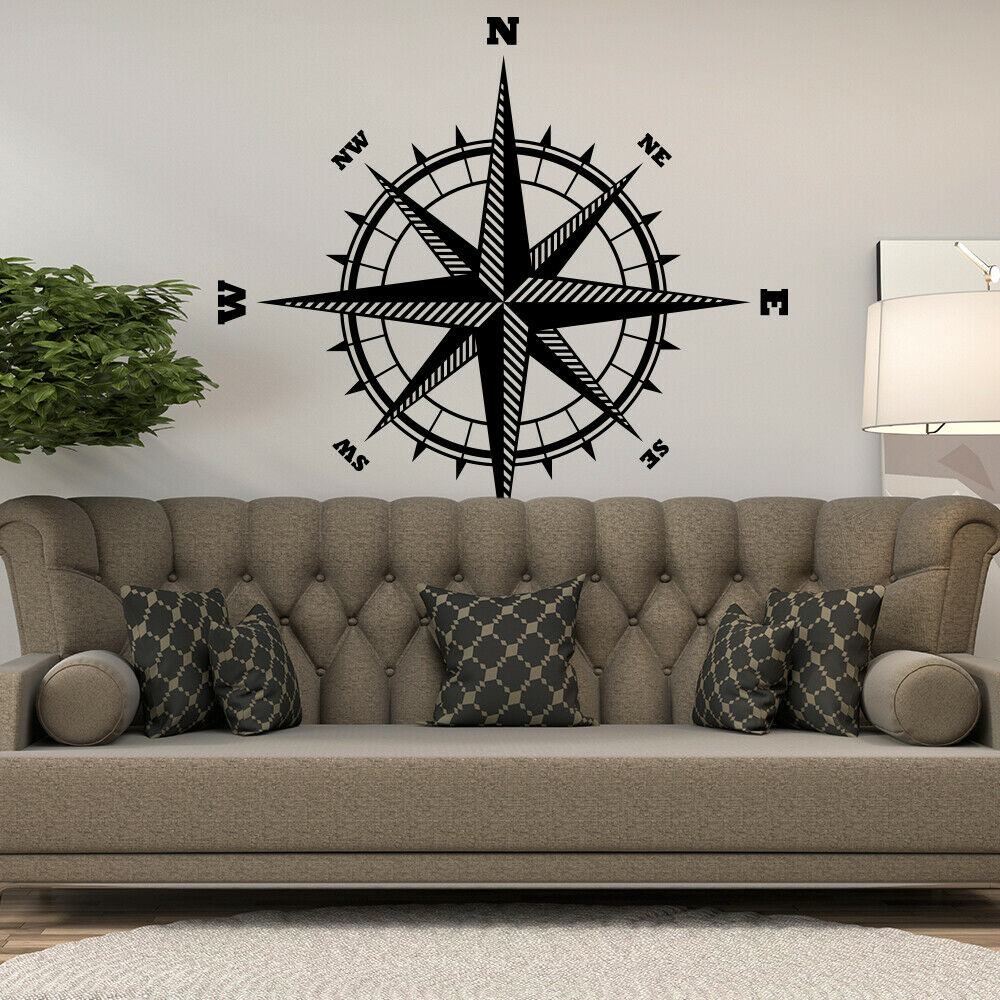 Nautical Compass Rose Vinyl Wall Decal world globe map art ...