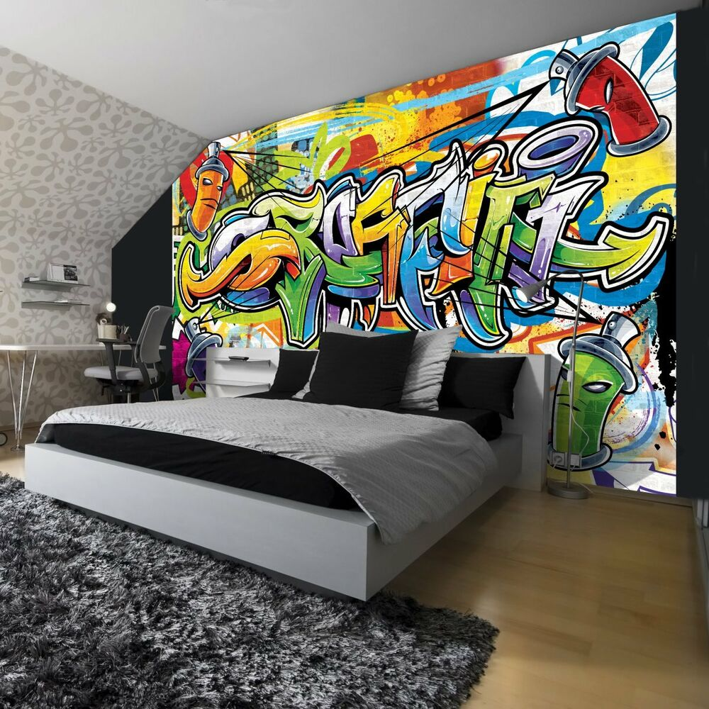 fototapeten fototapete tapeten wandbild poster tapete bunte graffiti 1400 p4 ebay. Black Bedroom Furniture Sets. Home Design Ideas