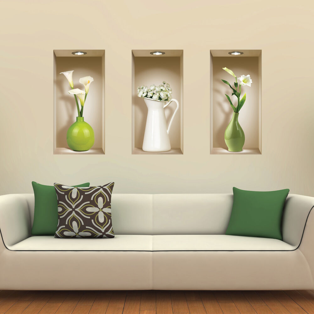 Set 3 art wall stickers 3d room picture removable home for Ebay decorations home