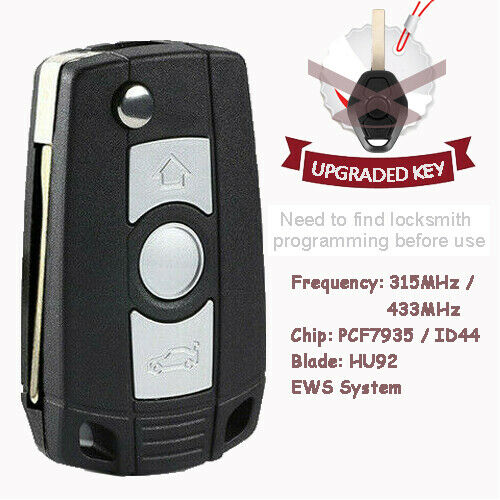 Flip Remote Key Fob 315 434mhz With Chip Id44 For Bmw E81