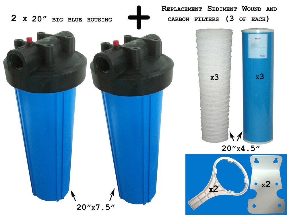 20 Quot Big Blue Water Filter Housing Wholehouse Filter Kit With Filters And Parts Ebay