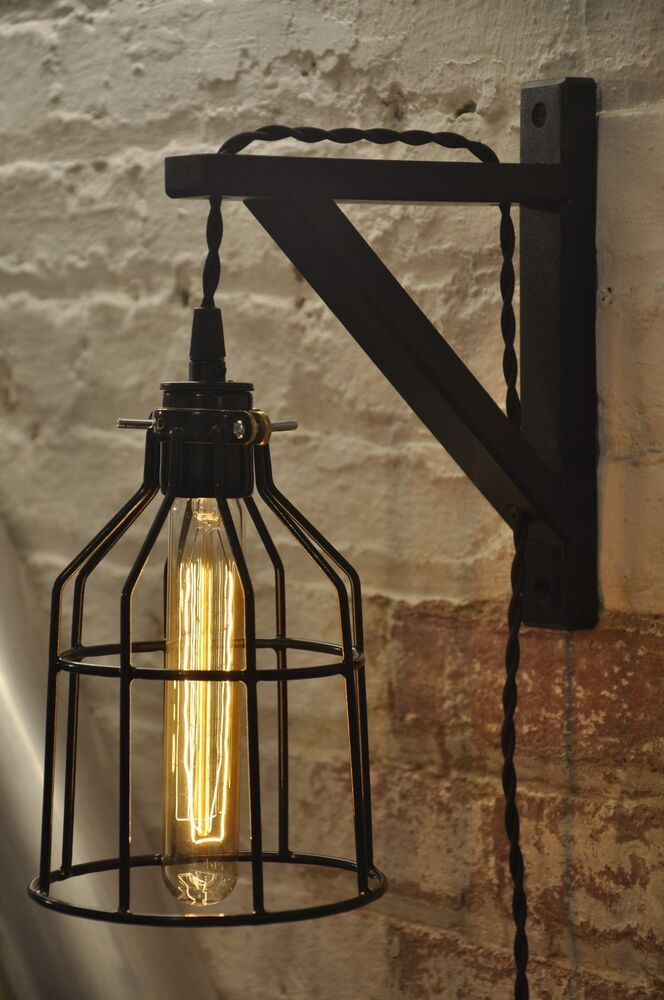 Bulb Guard Wall Sconce Cage Light Lamp Industrial Retro Vintage Solid Wood eBay
