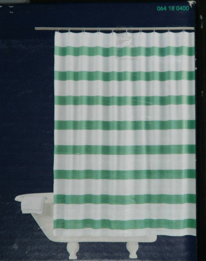 Re room essentials green rugby stripe fabric shower for Space curtain fabric