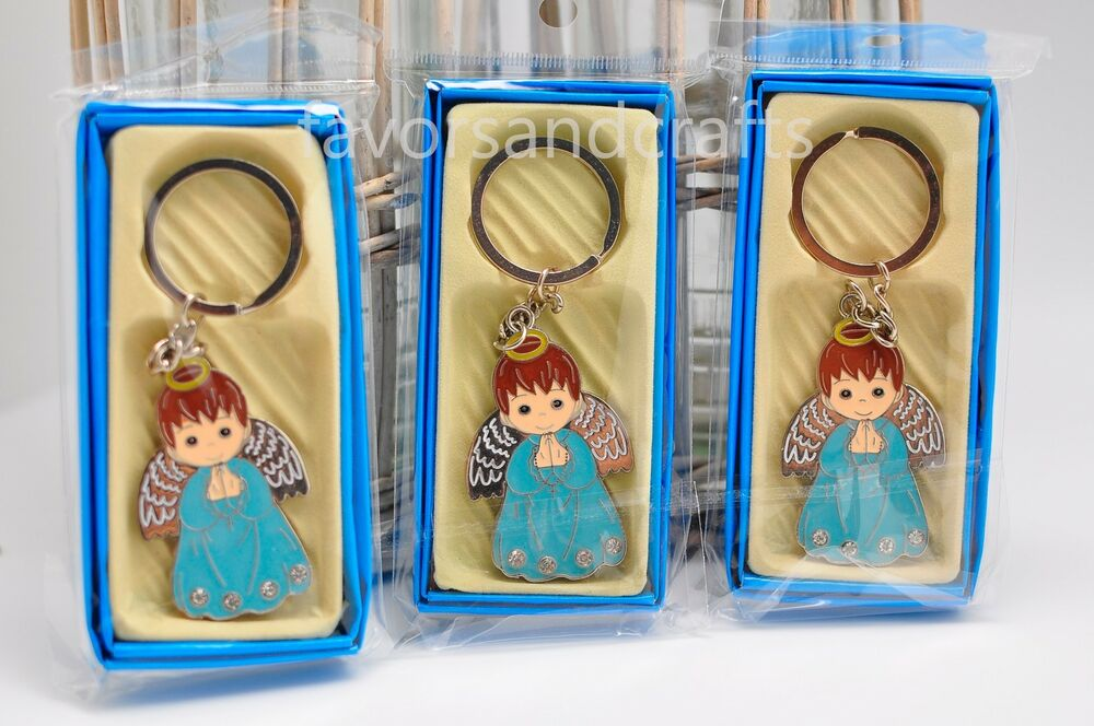 12 Pcs Angel Boy Keychain Favors Baptism Communion