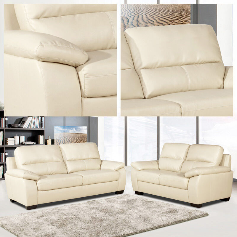 Artena 3 2 Seater Sofas Ivory Cream Leather Two Piece