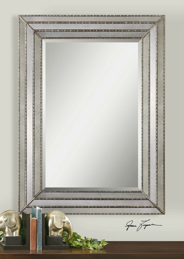47 oversized antiqued burnished silver rectangular for Oversized mirror