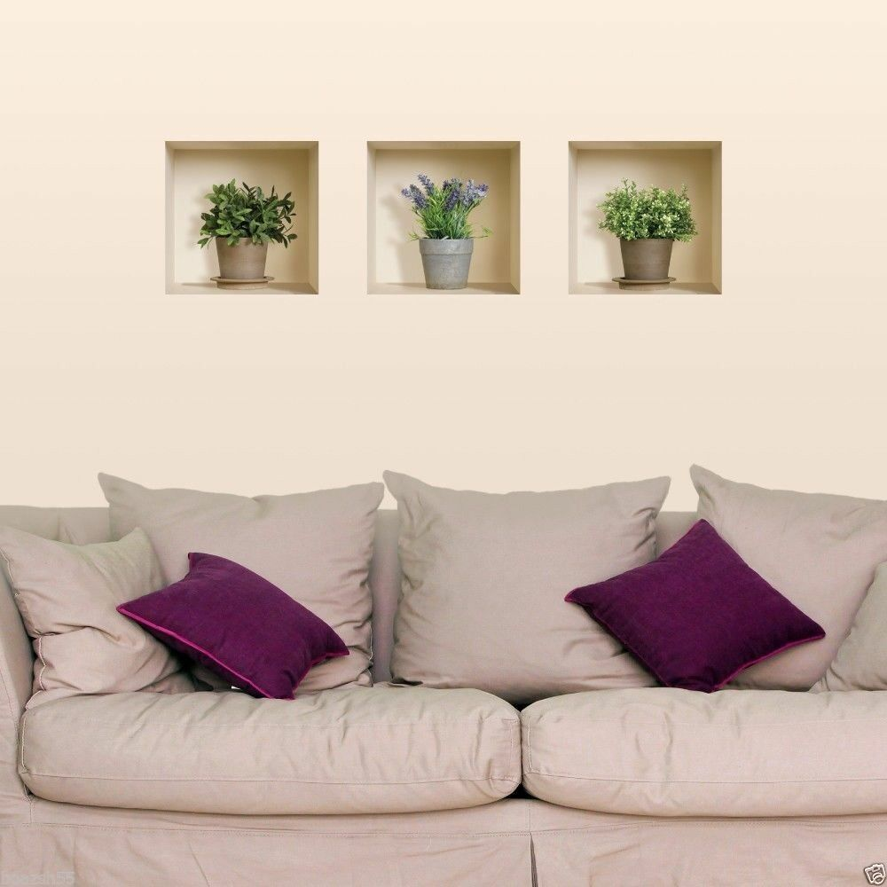 set 3 wall stickers 3d trompe l 39 oeil art picture reusable home decor tile decals ebay. Black Bedroom Furniture Sets. Home Design Ideas