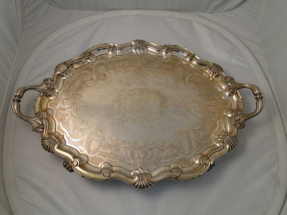 LARGE TRAY SILVER PLATED CIRCA 1840 ANTIQUE, BEAUTIFULLY ...