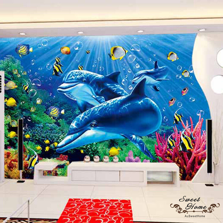 Underwater dolphin wonderland sea world full wall mural for Digital print wallpaper mural