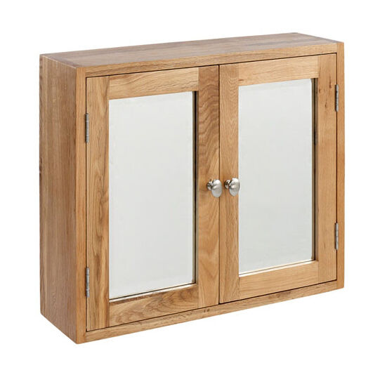 Lansdown Oak Large Bathroom Cabinet + Mirror / Light Oak Wall Hanging Cupboard