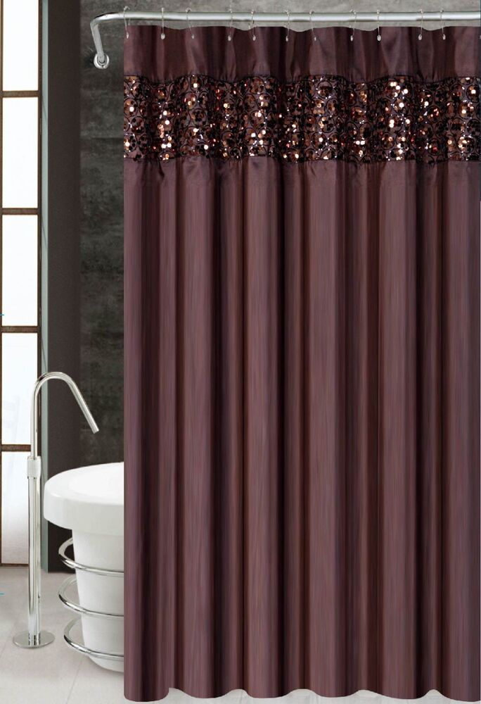Vegas brown luxury fabric shower curtain bathroom for Bathroom decor green and brown