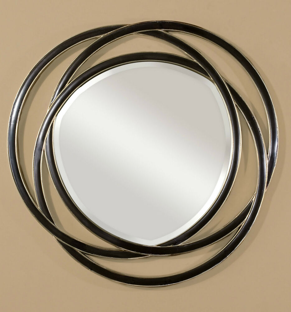 New large 48 black with silver leaf edges entwined round for Round black wall mirror
