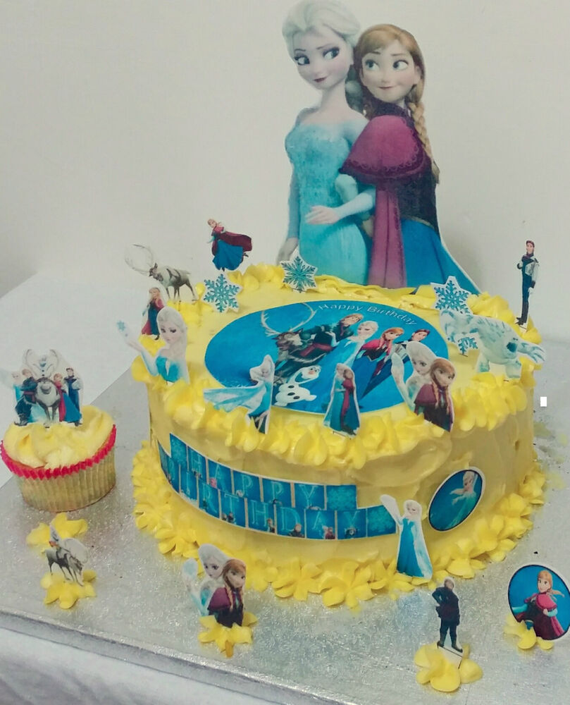 Frozen Disney Princess Personalise Cup Cake Scene Toppers ...