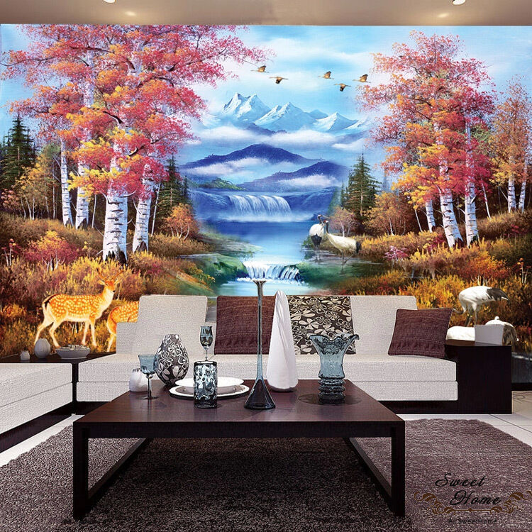 Snow mountain forest waterfall full wall mural wallpaper for Home wallpaper ebay