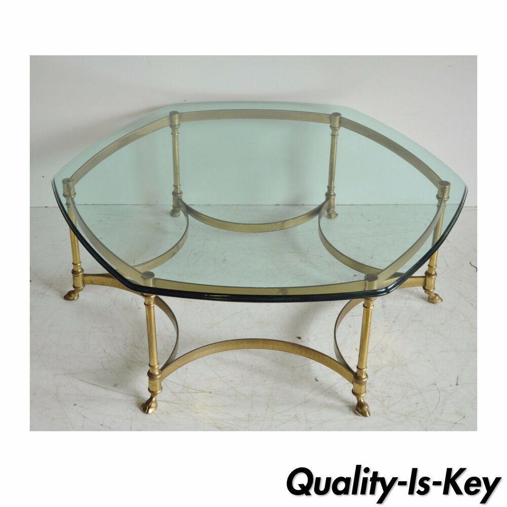 Brass Display Coffee Table: Vintage Labarge Brass Hoof Foot Hollywood Regency