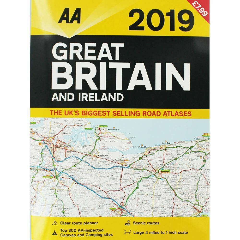 Detailed Road Map Of Ireland.Aa Great Britain And Ireland Atlas 2019 Road Map 9780749579593 Ebay