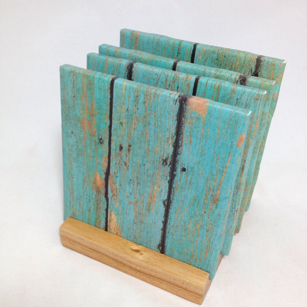 handmade teal wood drink coasters set of four the