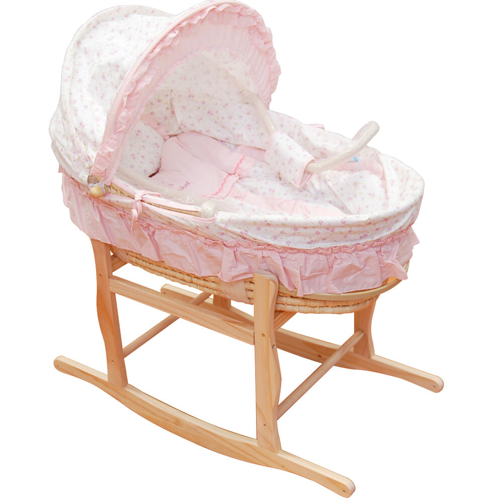 Pink baby carrier moses basket bassinet w rocking stand for Baby bassinet