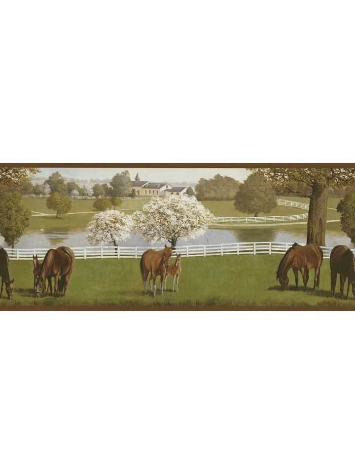 My old ky home horse horses farm wallpaper border for Home wallpaper ebay