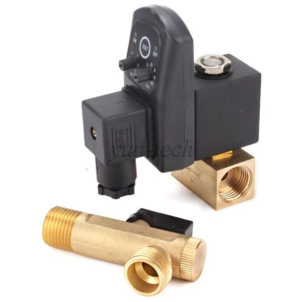 Quot way automatic electronic timed air compressor drain