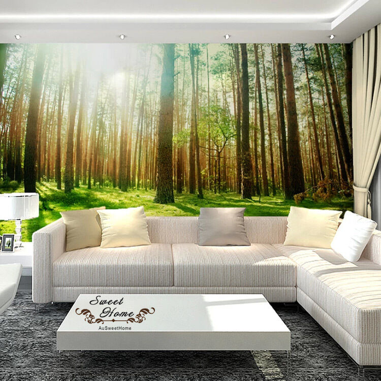 Green forest sunshine full wall mural wallpaper print for Decoration murale 1 wall