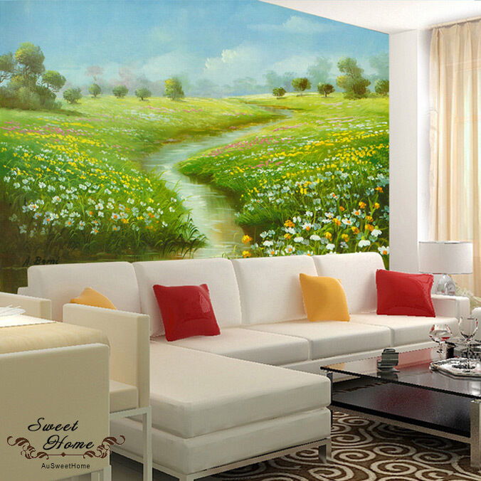Green grassland flower creek full wall mural wallpaper for Home wallpaper ebay
