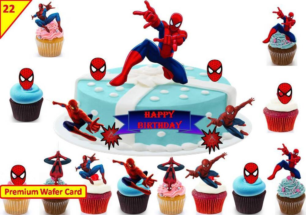 spiderman cup cake scene birthday decorations toppers edible stand up decoration ebay. Black Bedroom Furniture Sets. Home Design Ideas