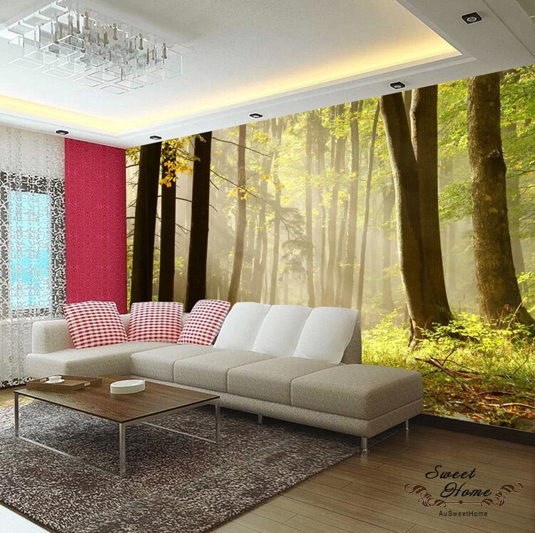 Forest morning fog landscapes full wall mural print decal for Home wallpaper ebay