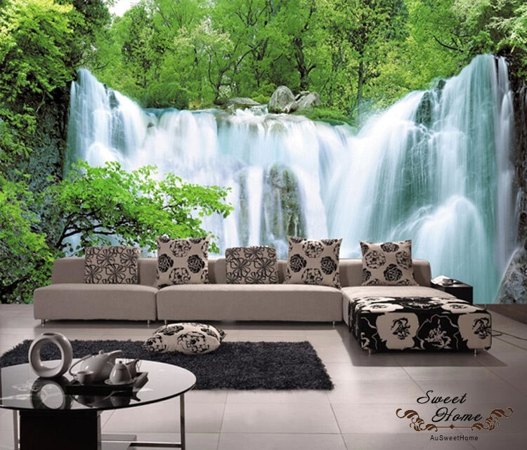 Green forest waterfall full wall mural decal print for Home wallpaper ebay