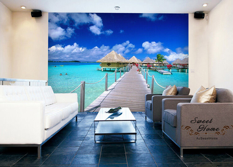 Beach blue sky huge wallpaper full wall mural print decal for Home wallpaper ebay