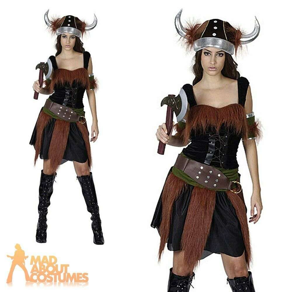 Adult Viking Lady Costume Warrior Princess Fancy Dress Womens Ladies Outfit New | eBay