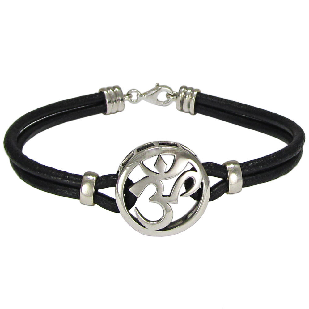 Metal Charm Bracelets: Sterling Silver Aum Bracelet Genuine Leather