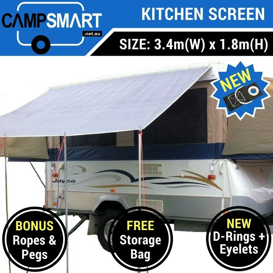kitchen awning privacy screen sunscreen jayco swan flamingo camper trailer ebay. Black Bedroom Furniture Sets. Home Design Ideas