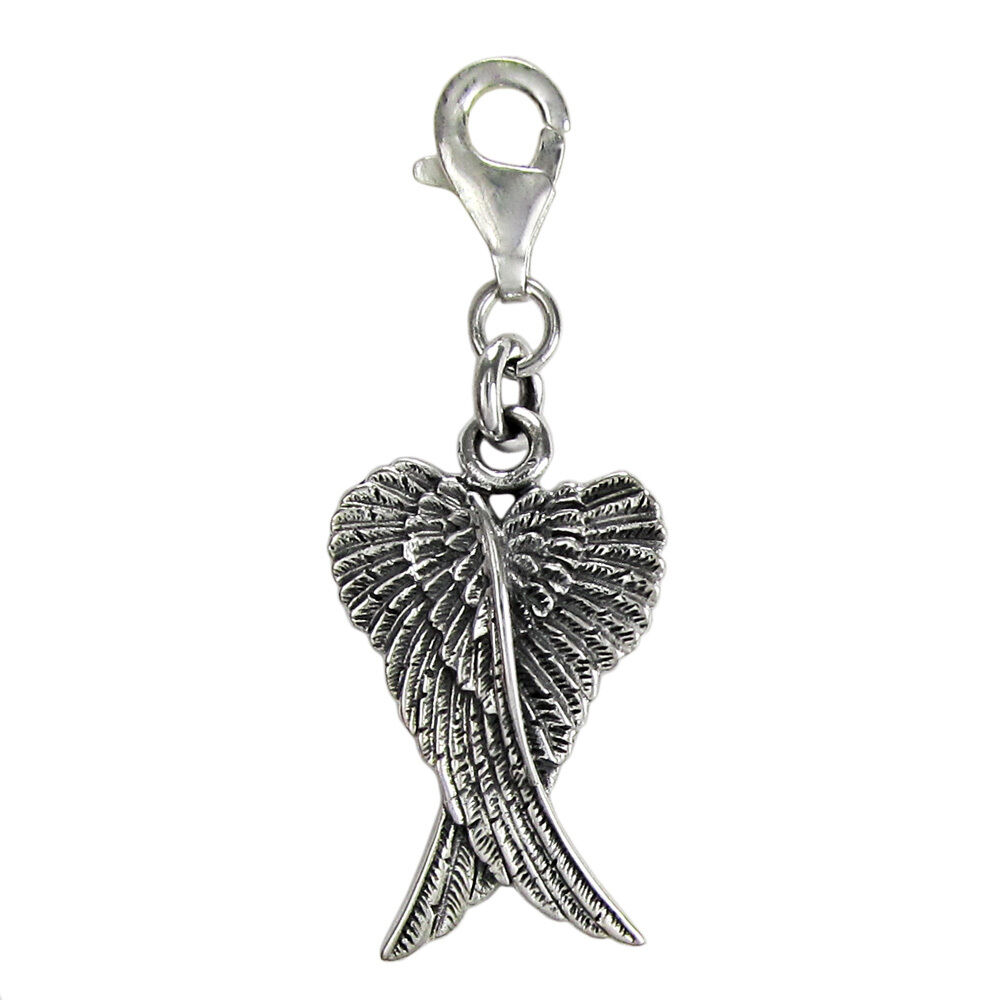 Silver Bracelets With Charms: Sterling Silver Folded Guardian Angel Wings Feather Clip