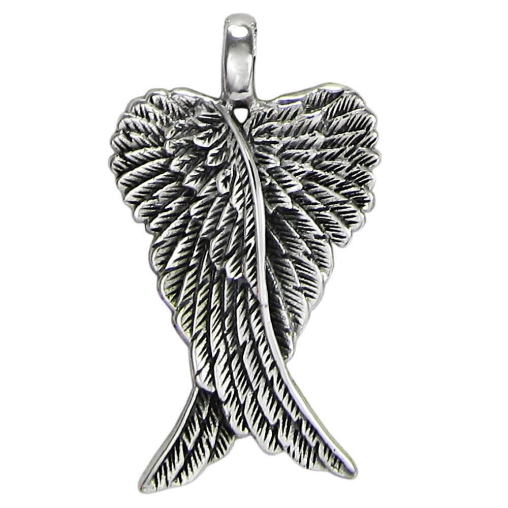 Small sterling silver folded guardian angel wings feather for The sterling
