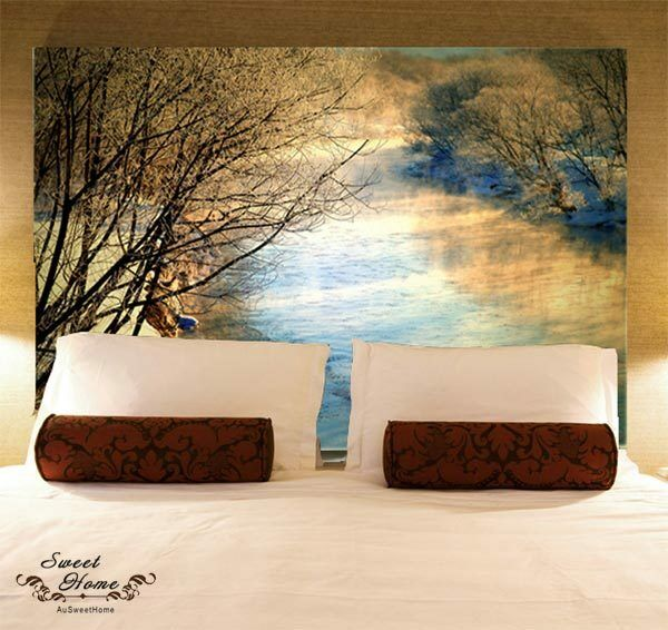 Sunset creek landscape full wall mural decal print for Home wallpaper ebay