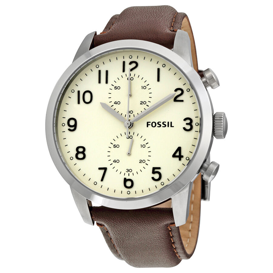 fossil townsman chronograph egg brown leather mens