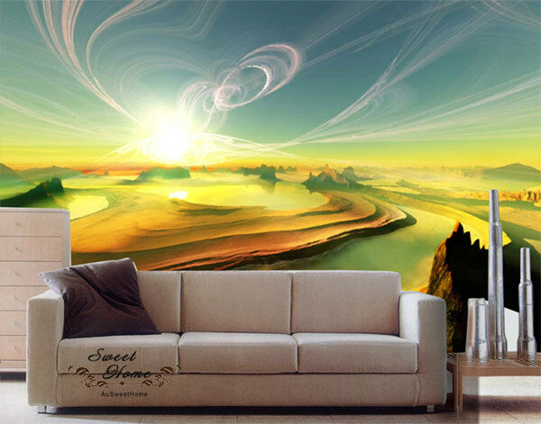 Amazing sunset glory landscape full wall mural decal print for Home wallpaper ebay
